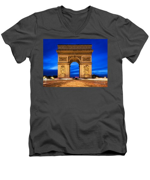 Arc De Triomphe At Night Paris France  Men's V-Neck T-Shirt by Michal Bednarek