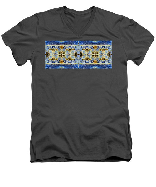 Men's V-Neck T-Shirt featuring the digital art Arches In Blue And Gold by Stephanie Grant