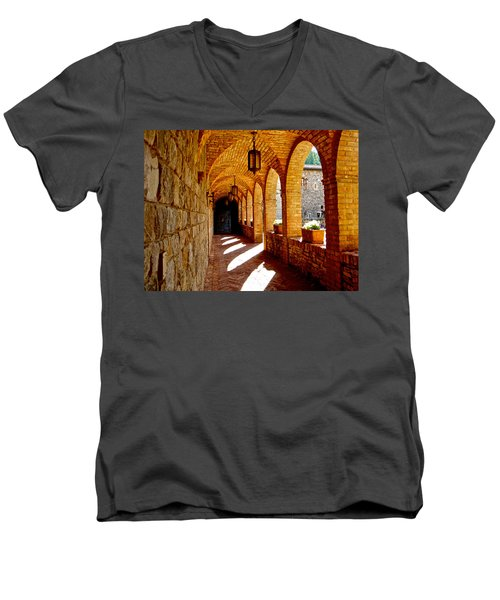 Archway By Courtyard In Castello Di Amorosa In Napa Valley-ca Men's V-Neck T-Shirt by Ruth Hager