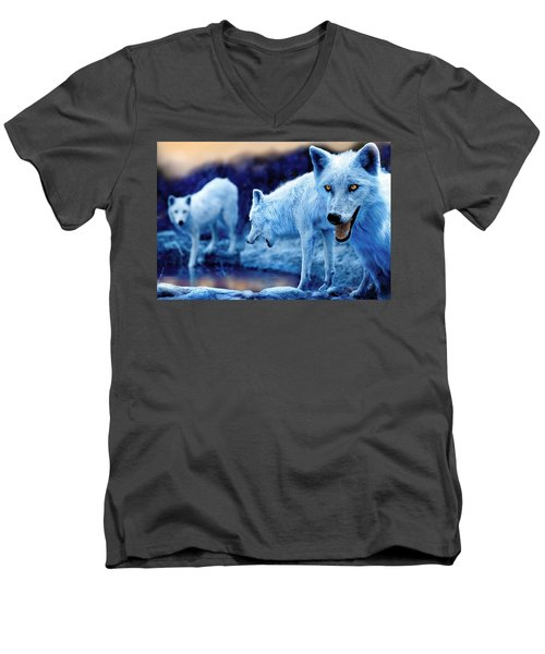 Arctic White Wolves Men's V-Neck T-Shirt