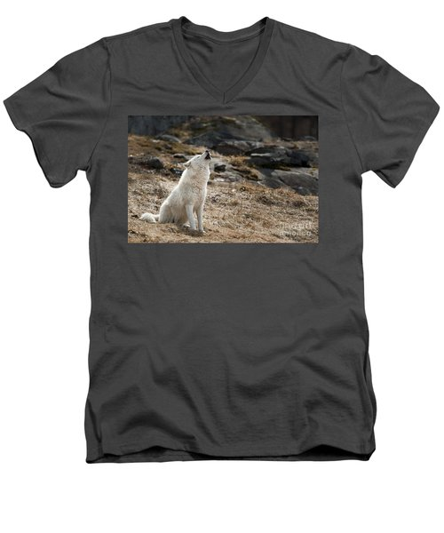 Men's V-Neck T-Shirt featuring the photograph Arctic Wolf Howling by Wolves Only