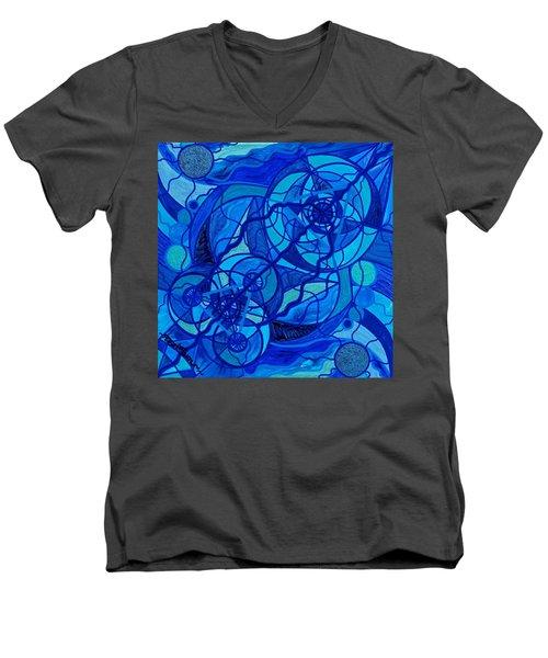Arcturian Calming Grid Men's V-Neck T-Shirt