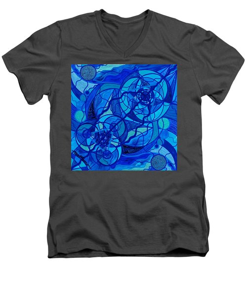 Arcturian Calming Grid Men's V-Neck T-Shirt