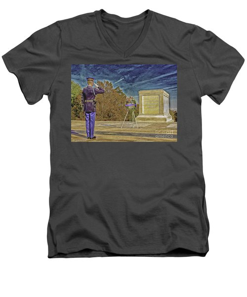Arlington Cemetery Tomb Of The Unknowns Men's V-Neck T-Shirt