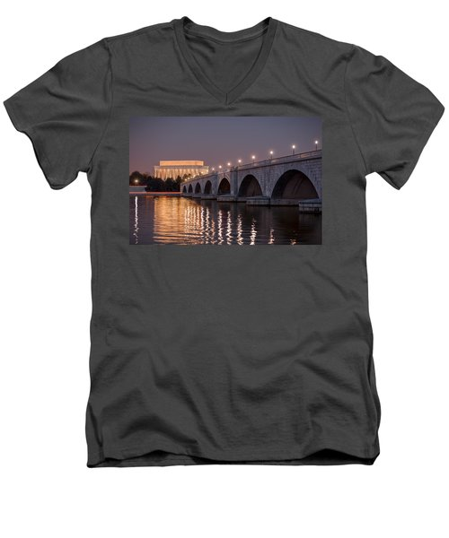 Arlington Memorial Bridge Men's V-Neck T-Shirt by Eduard Moldoveanu