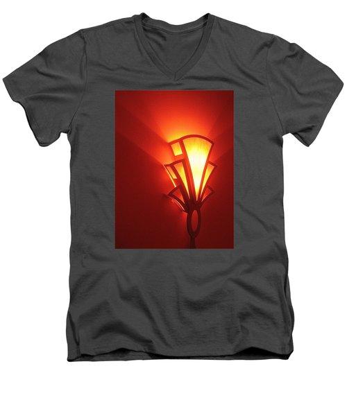 Men's V-Neck T-Shirt featuring the photograph Art Deco Light Fox Tucson Arizona  Theater  2006 by David Lee Guss