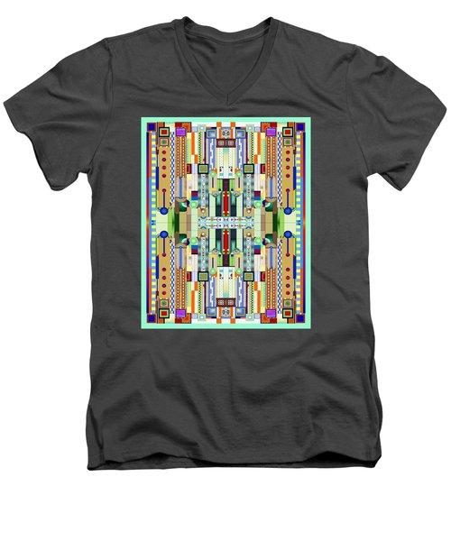 Art Deco Stained Glass 2 Men's V-Neck T-Shirt