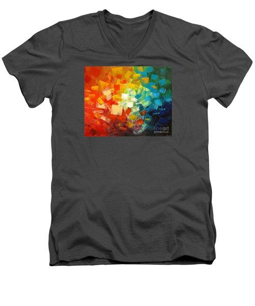 Men's V-Neck T-Shirt featuring the painting Art Lovers by Tatiana Iliina