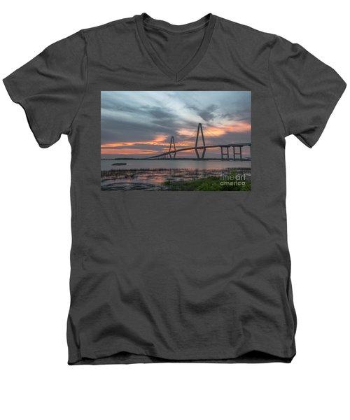 Orange Nebulous Men's V-Neck T-Shirt by Dale Powell