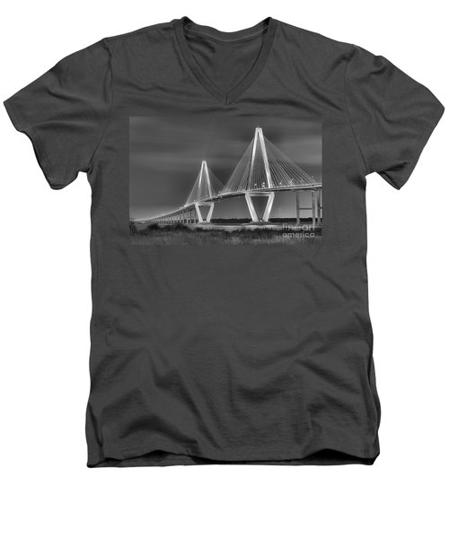 Arthur Ravenel Jr. Bridge In Black And White Men's V-Neck T-Shirt