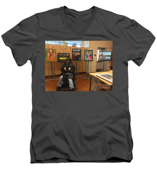 Men's V-Neck T-Shirt featuring the photograph Artist With Lake Series by Donald J Ryker III