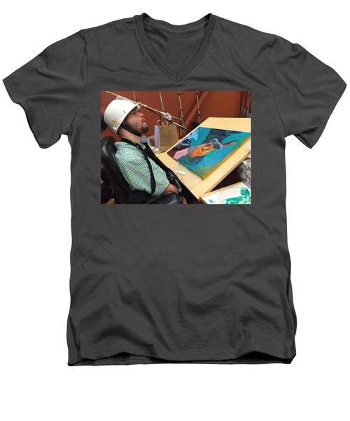 Artist Working Men's V-Neck T-Shirt by Donald J Ryker III