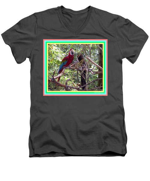 Men's V-Neck T-Shirt featuring the photograph Artistic Wild Hawaiian Parrot by Joseph Baril