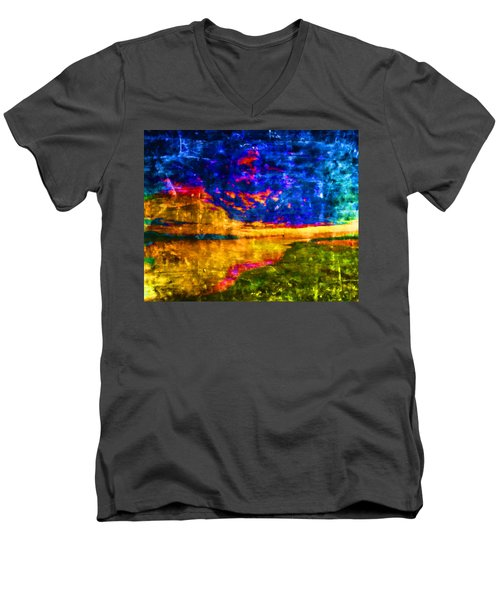 Men's V-Neck T-Shirt featuring the painting As The World Ends by Joe Misrasi