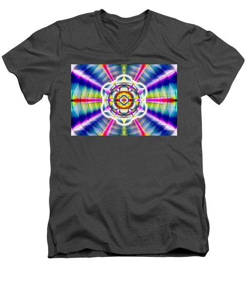 Men's V-Neck T-Shirt featuring the drawing Ascending Eye Of Spirit by Derek Gedney