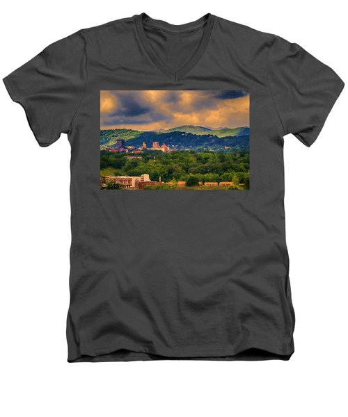 Asheville North Carolina Men's V-Neck T-Shirt by John Haldane