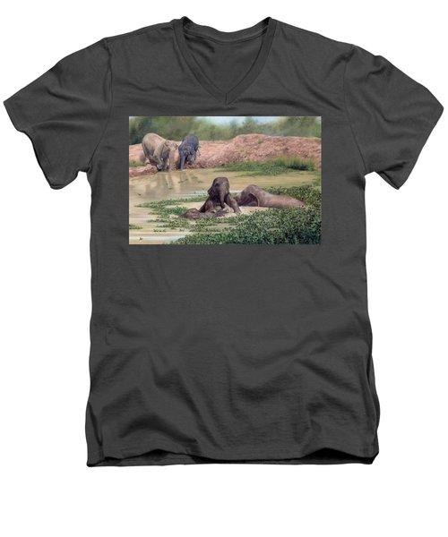 Asian Elephants - In Support Of Boon Lott's Elephant Sanctuary Men's V-Neck T-Shirt