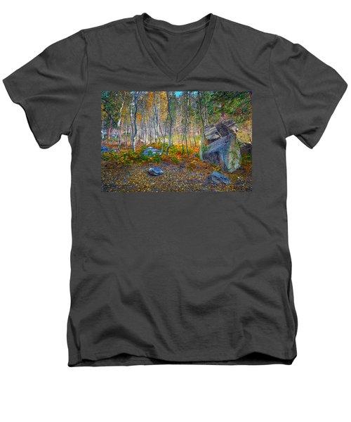 Men's V-Neck T-Shirt featuring the photograph Aspen Grove by Jim Thompson