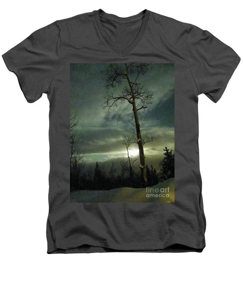 Aspen In Moonlight Men's V-Neck T-Shirt