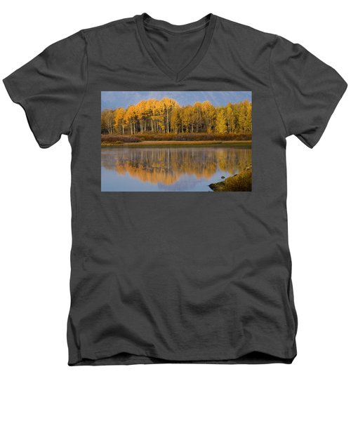 Men's V-Neck T-Shirt featuring the photograph Aspen Reflection by Sonya Lang