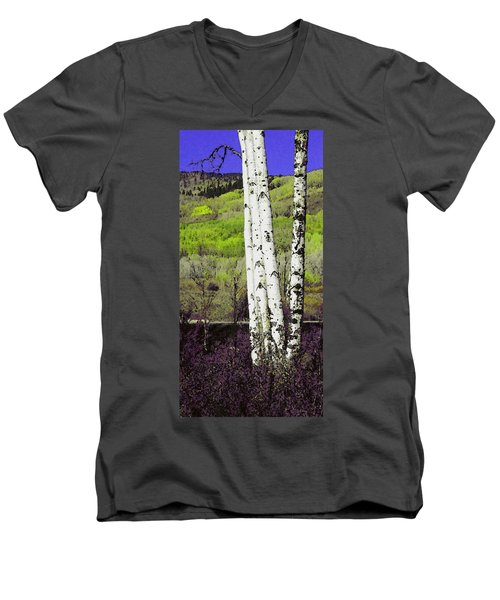 Aspens 4 Men's V-Neck T-Shirt by David Hansen