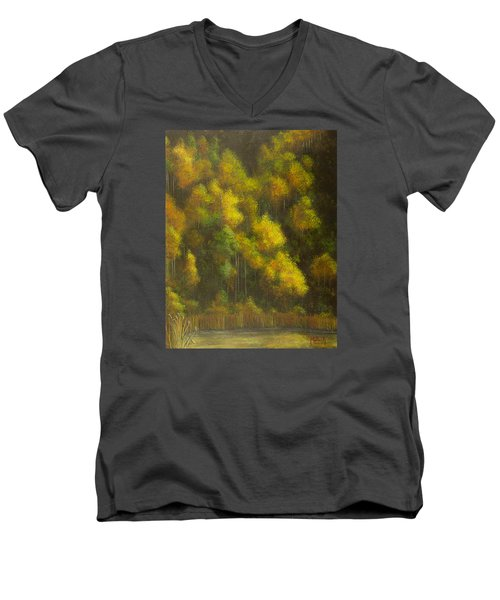Aspens And Cattails Men's V-Neck T-Shirt by Jack Malloch