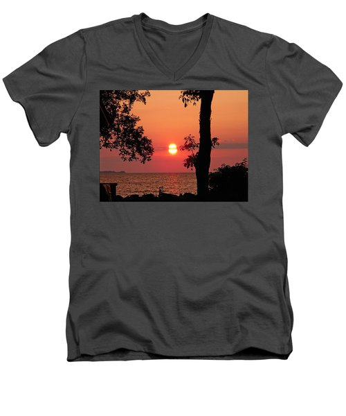 Men's V-Neck T-Shirt featuring the photograph Association Island Sunset by Aimee L Maher Photography and Art Visit ALMGallerydotcom
