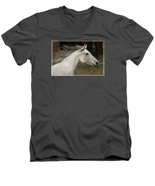At A Full Gallop Men's V-Neck T-Shirt by Wes and Dotty Weber
