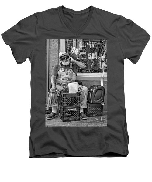 At His Office - Grandpa Elliott Small Bw Men's V-Neck T-Shirt