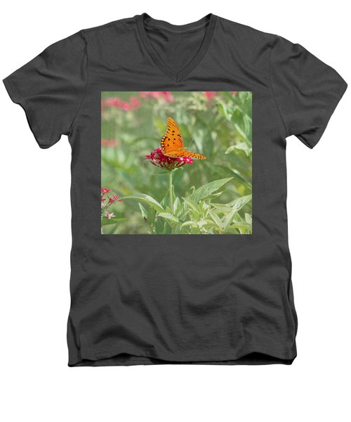 At Rest - Gulf Fritillary Butterfly Men's V-Neck T-Shirt