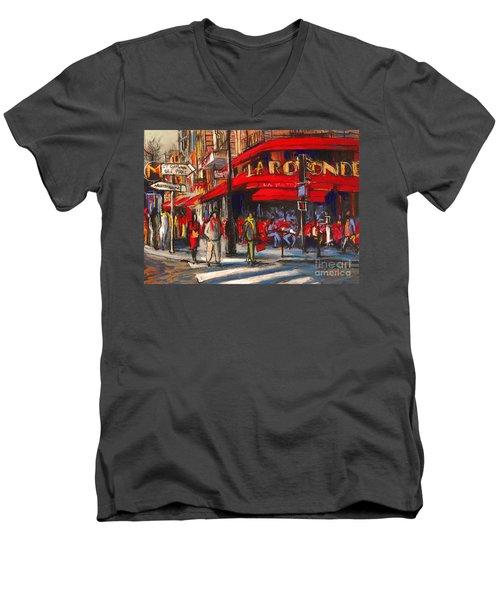 At The Cafe De La Rotonde Paris Men's V-Neck T-Shirt