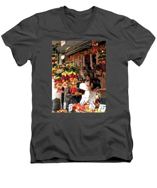 At The Market Men's V-Neck T-Shirt by Chris Anderson