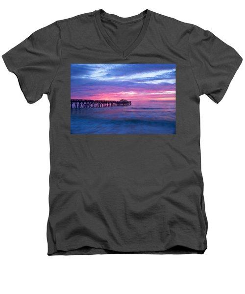 Myrtle Beach State Park Pier Sunrise Men's V-Neck T-Shirt by Vizual Studio