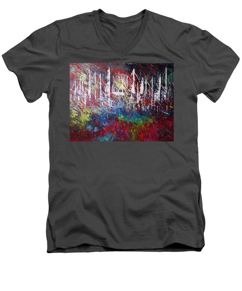At The Top Men's V-Neck T-Shirt by George Riney