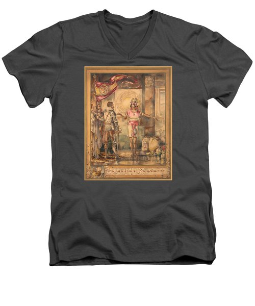 Men's V-Neck T-Shirt featuring the painting Atahualpa's Ransom Helen Maitland Armstrong by Paul Ashby Antique Paintings