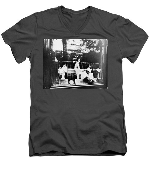 Men's V-Neck T-Shirt featuring the photograph Atget Hairdresser, C1920 by Granger