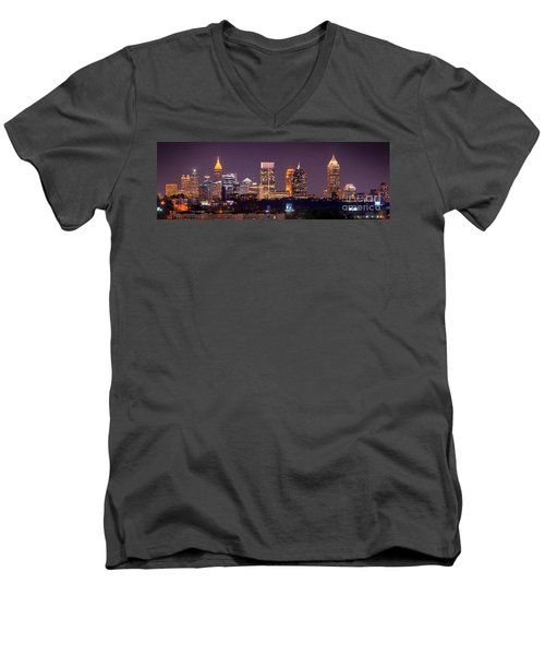 Atlanta Skyline At Night Downtown Midtown Color Panorama Men's V-Neck T-Shirt by Jon Holiday
