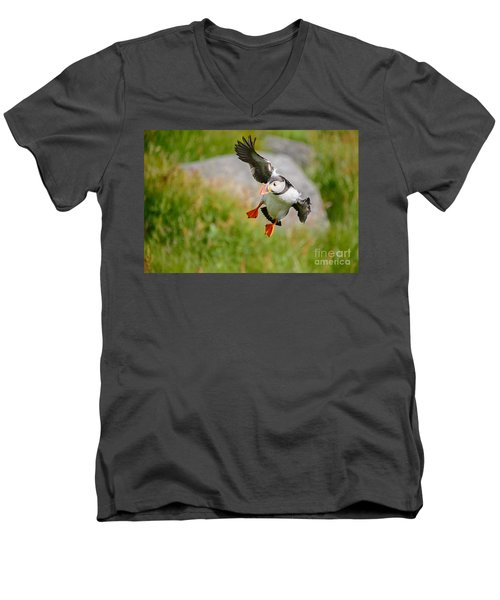 Atlantic Puffin, Incoming.... Men's V-Neck T-Shirt