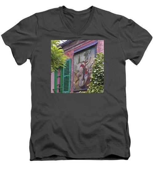 Au Lapin Agile Men's V-Neck T-Shirt by Alan Toepfer