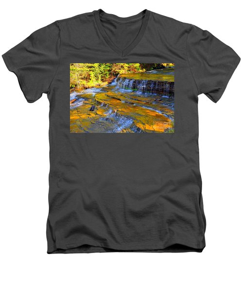 Men's V-Neck T-Shirt featuring the photograph Au Train Falls by Terri Gostola