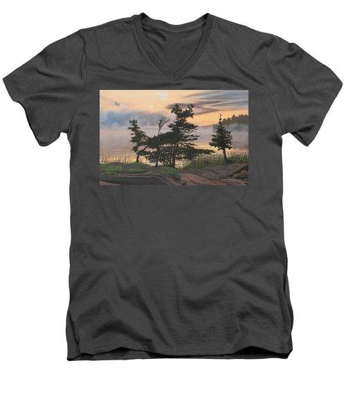 Auburn Evening Men's V-Neck T-Shirt by Kenneth M  Kirsch