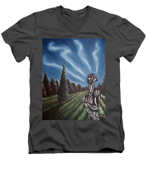 Men's V-Neck T-Shirt featuring the painting Aurora by Michael  TMAD Finney