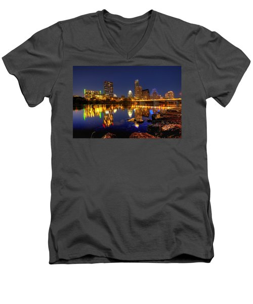 Men's V-Neck T-Shirt featuring the photograph Austin On The Rocks by Dave Files