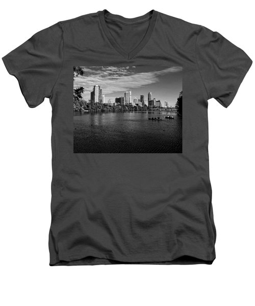 Austin Skyline Bw Men's V-Neck T-Shirt by Judy Vincent