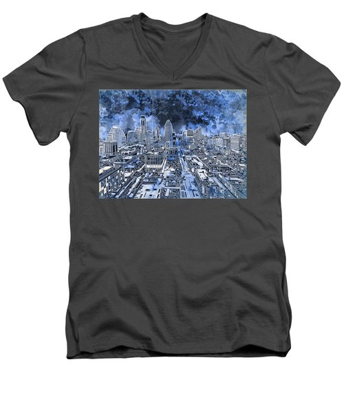 Austin Texas Abstract Panorama 5 Men's V-Neck T-Shirt