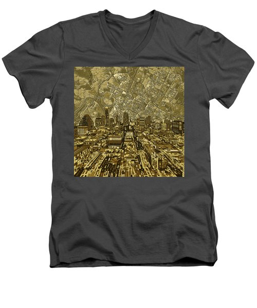 Austin Texas Vintage Panorama Men's V-Neck T-Shirt by Bekim Art