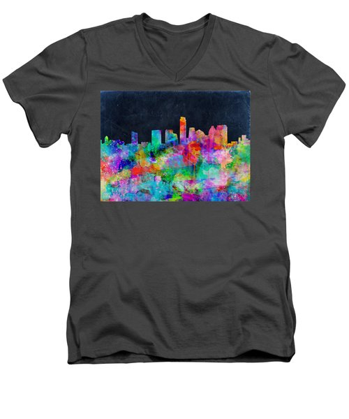 Austin Watercolor Panorama Men's V-Neck T-Shirt