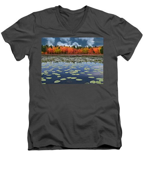 Autumn Across The Pond Men's V-Neck T-Shirt by Barbara S Nickerson