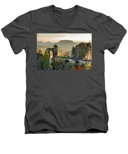 Autumn Afternoon On The Bastei Bridge Men's V-Neck T-Shirt