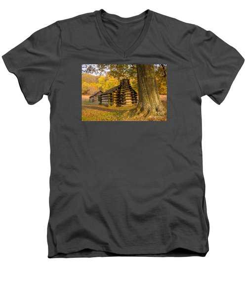 Men's V-Neck T-Shirt featuring the photograph Autumn And The Huts At Valley Forge by Rima Biswas